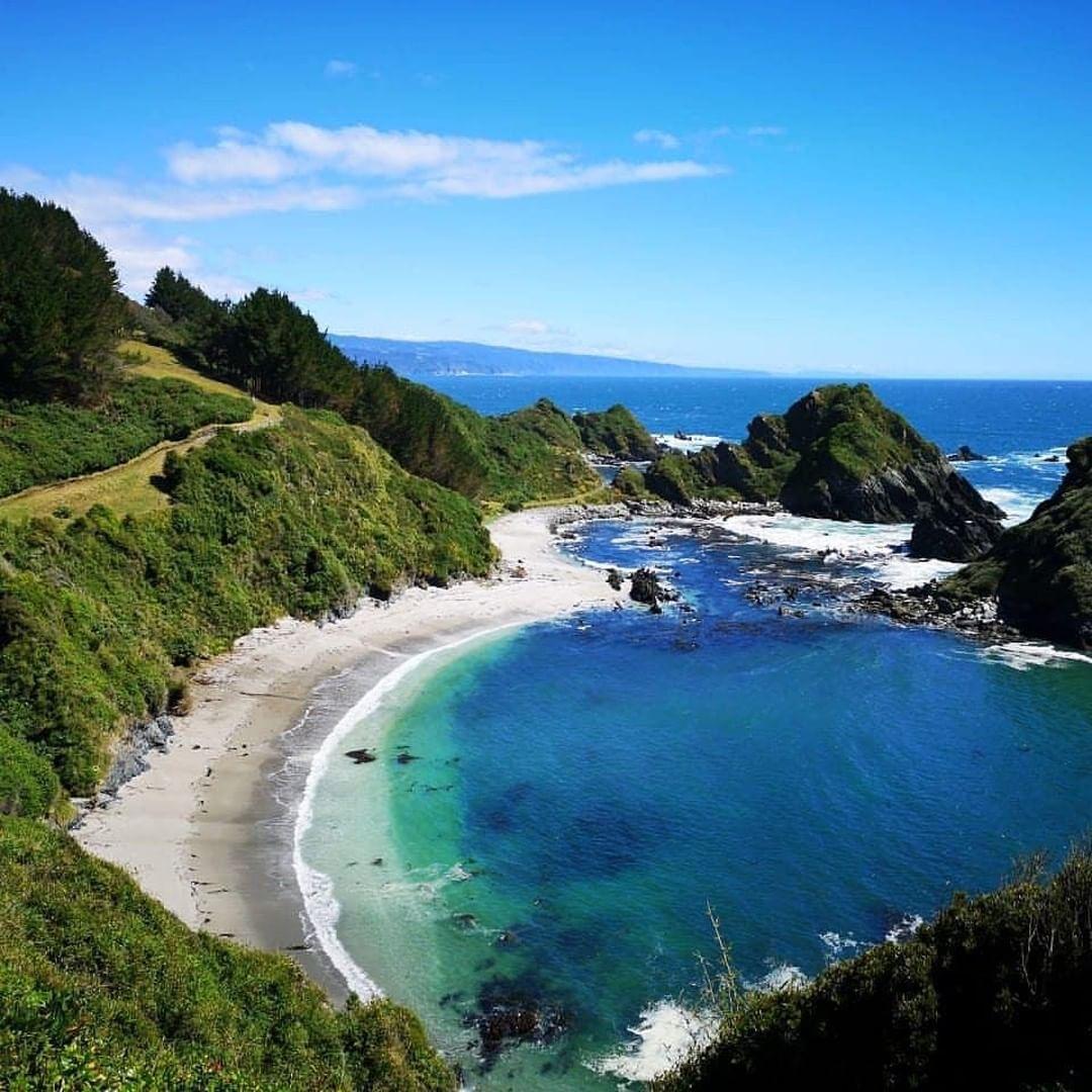 vista panorámica de isla maiquillahue vegetacion, playas y rocas