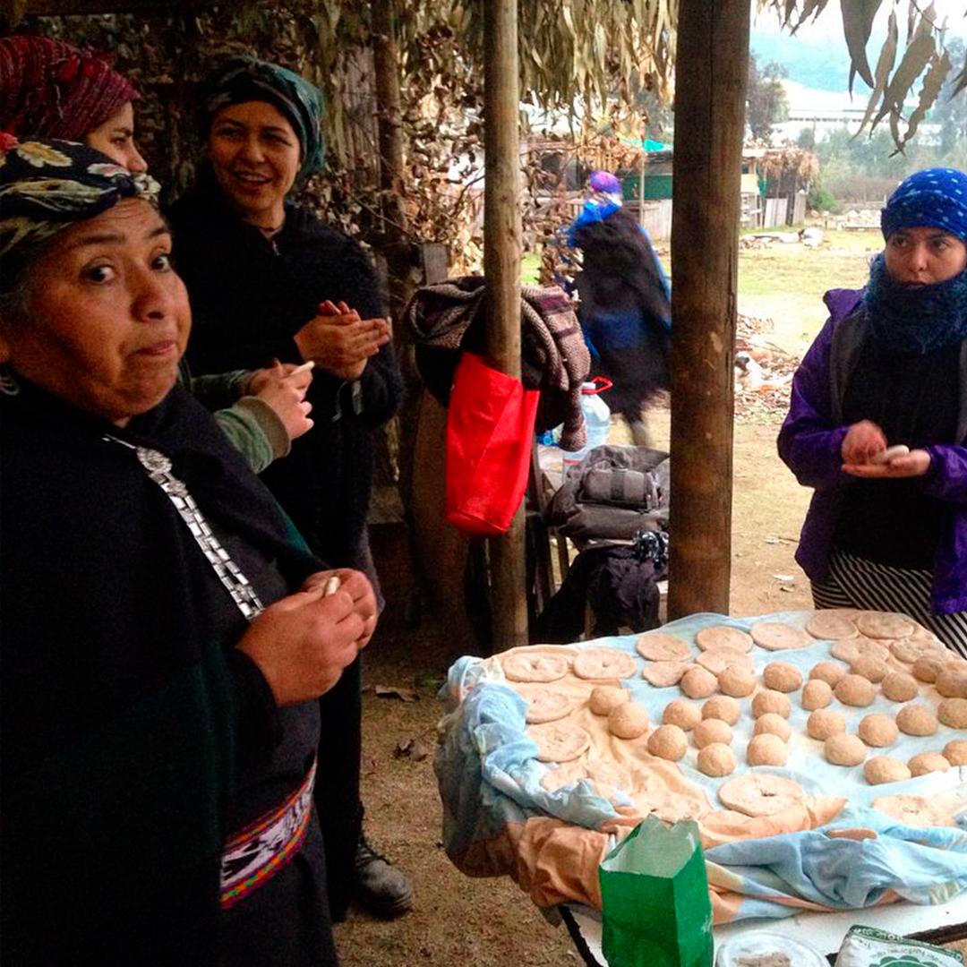 mujeres picunches reunidas en torno a comida típica realiza por ellas