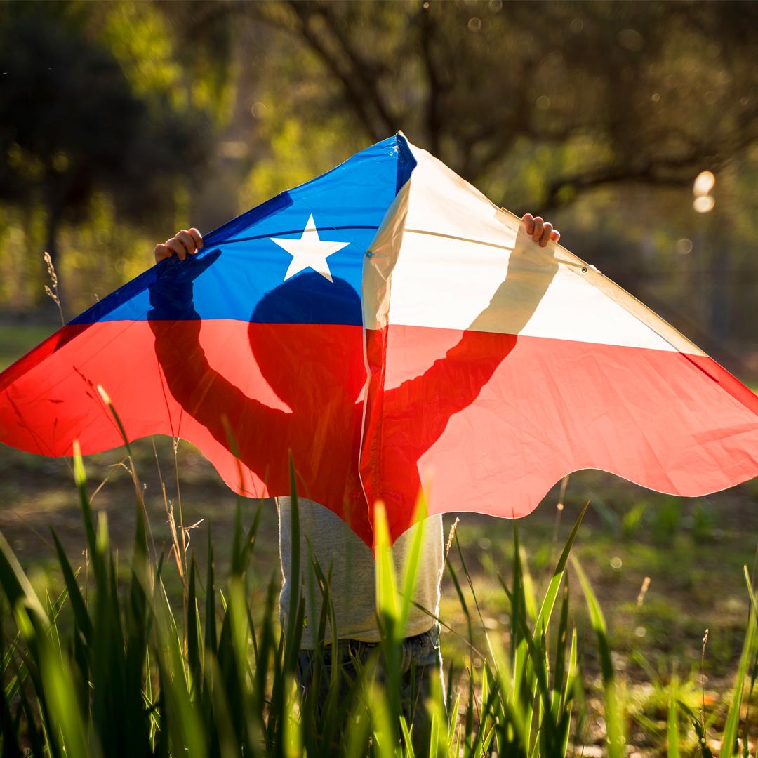 volantín con bandera chilena